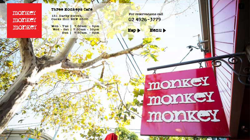 Three Monkeys Cafe Website Screenshot