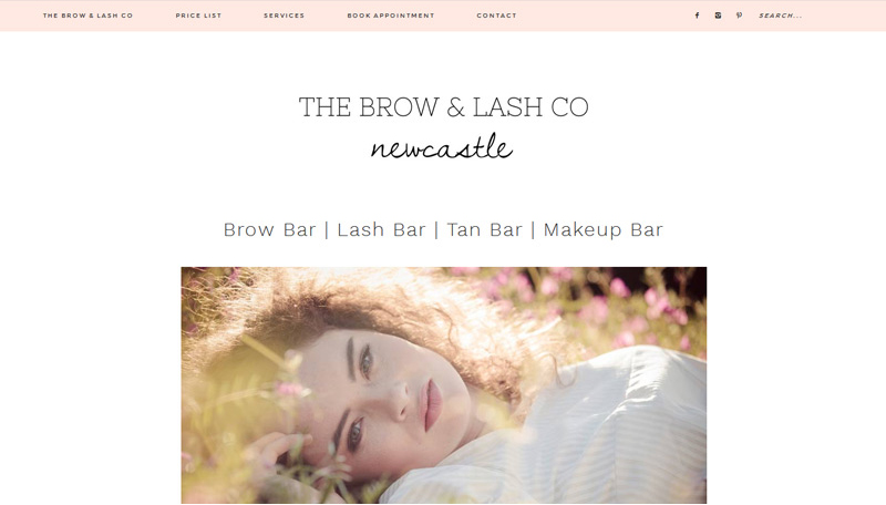 the brow and lash co beauty website homepage