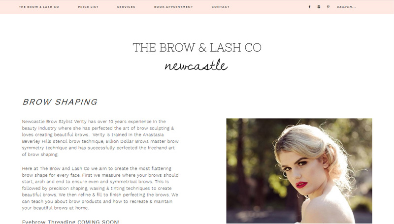 beautician website design Newcastle - screenshot