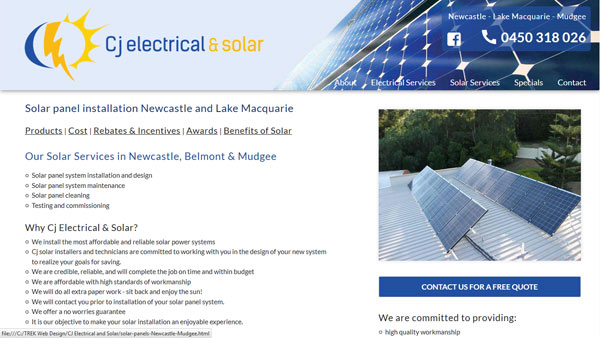 Newcastle electrician website design - cj electrical and solar
