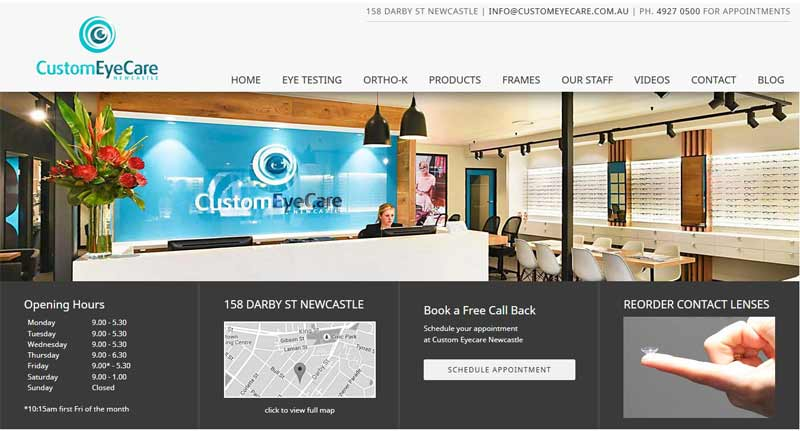 Newcastle Optometrist Custom Eyecare website design by Trek Web Design