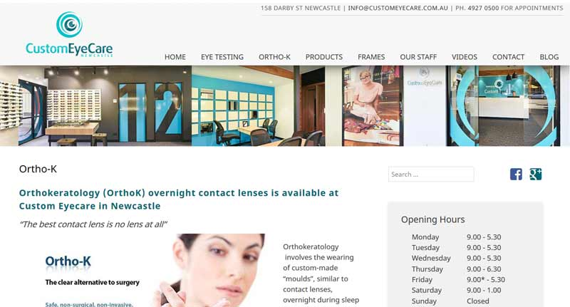 Newcastle Optometrist Custom Eyecare website design screenshot - site by Trek Web Design