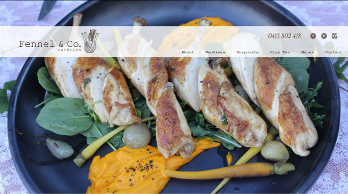 Fennel & Co Catering website design by Trek Web Design Newcastle
