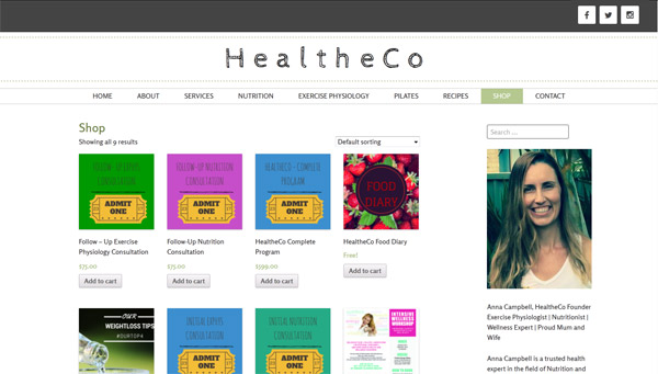 healtheco website screenshot