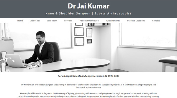 Medical Specialist Website design - Dr Jai Kumar