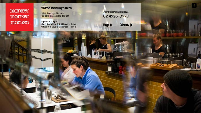 Three Monkeys cafe website screeshot
