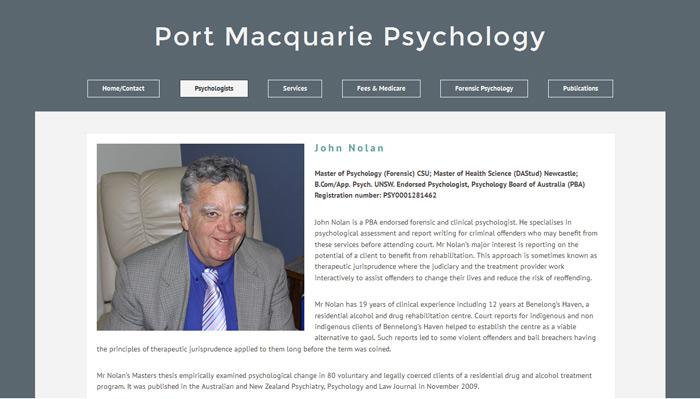 Port Macquarie Psychology website design screenshot