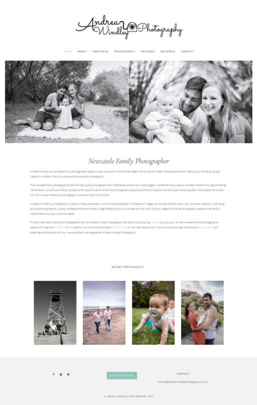 Andrea Windley Photography Website design Newcastle