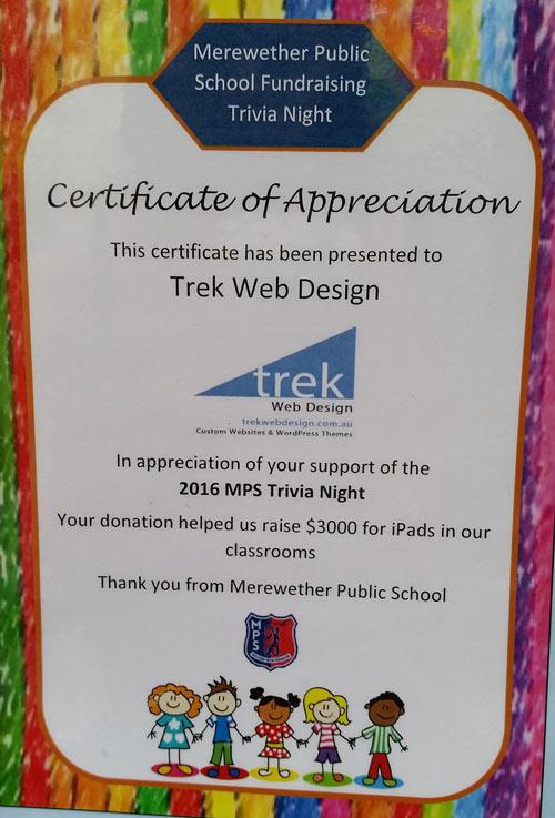 Trek Web design merewether public school sponsorship