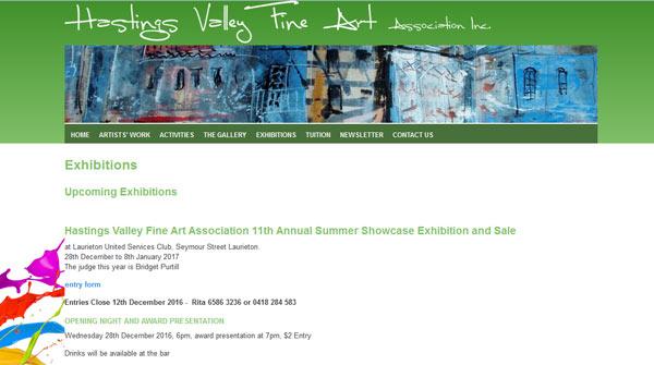 Hastings Valley Fine Art Association Website