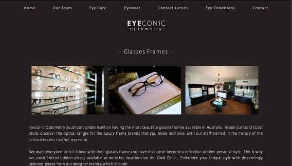 The Website Was Styled To Complement Eyeconic Optometrys Sleek Branding And High End Interior Design