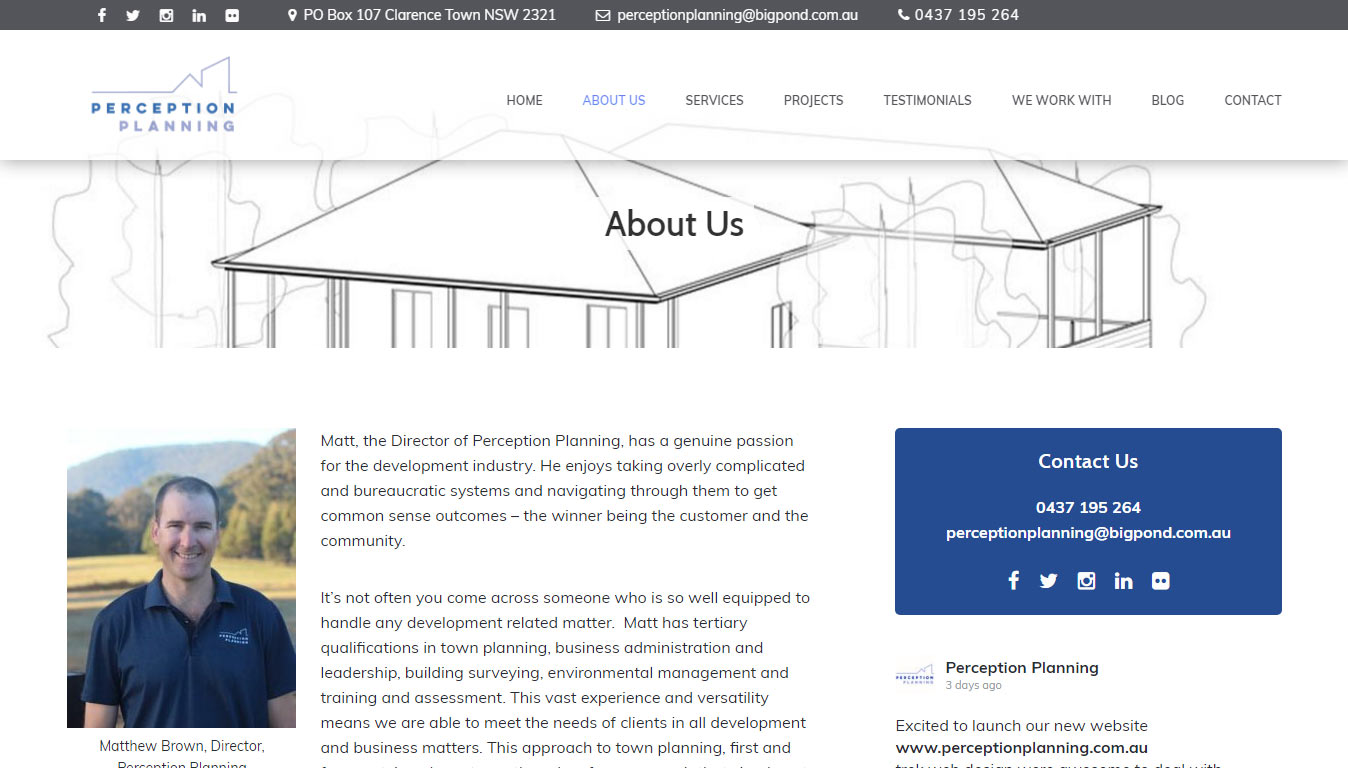 Home page of Perception Town Planning website