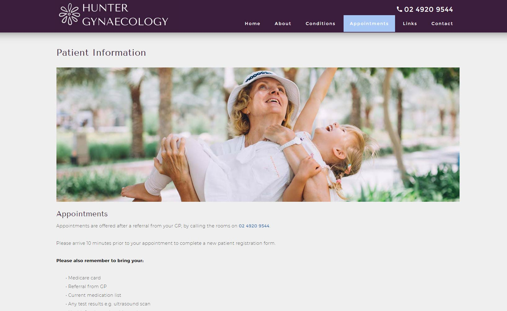 Specialist doctor website design example