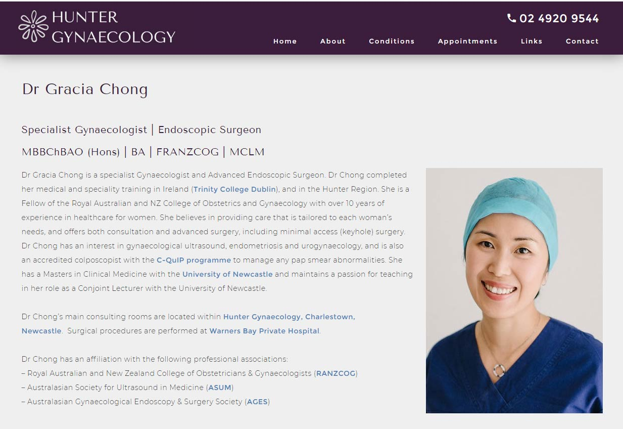Gynaecology website design