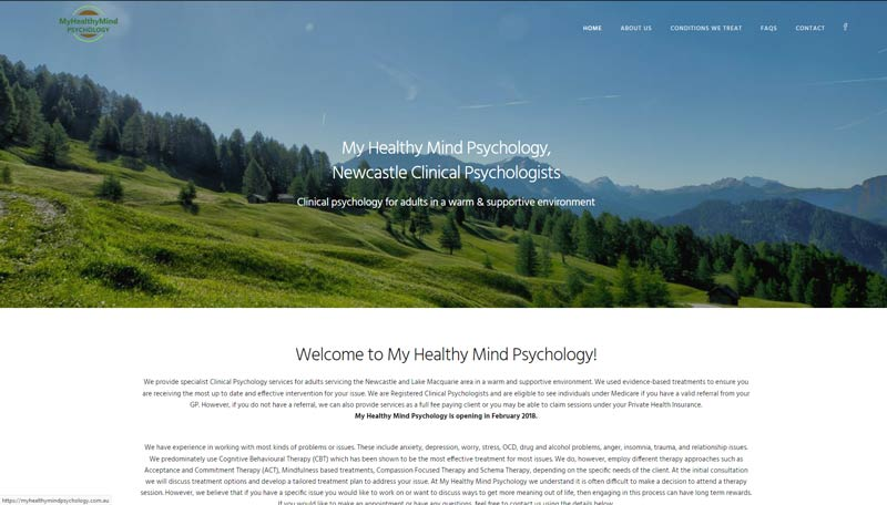 Newcastle psychologist website design