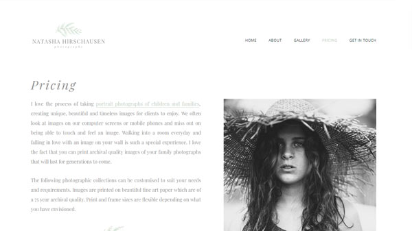 page from nh photography website