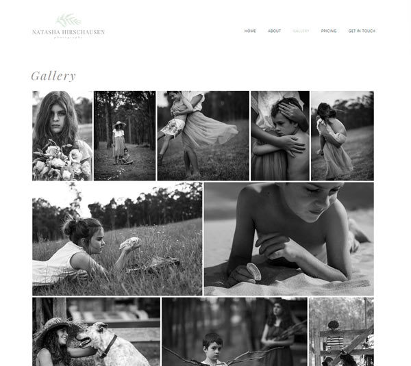 website design for natasha hirschausen photography newcaslte