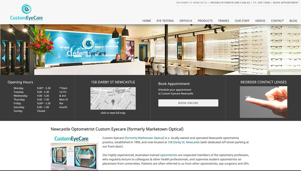 custom eyecare newcastle optometrist website design