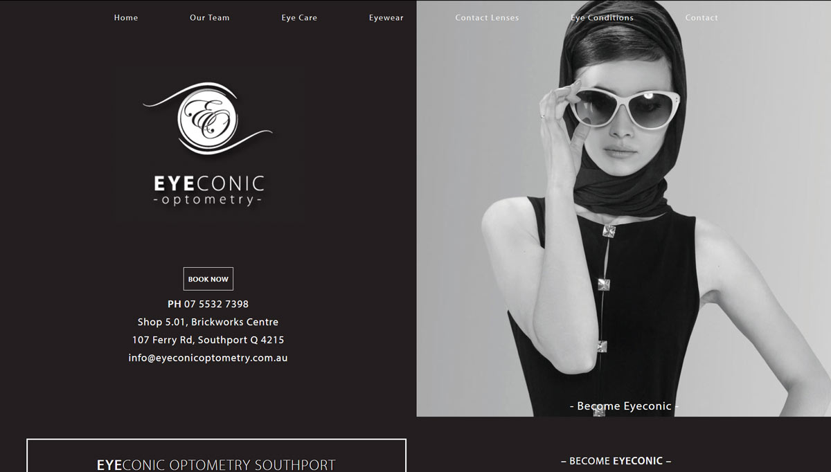 eyeconic optometry website design