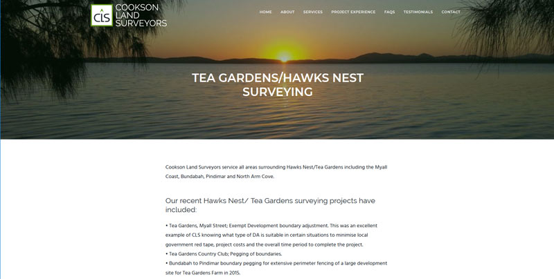 website design for surveyor newcastle