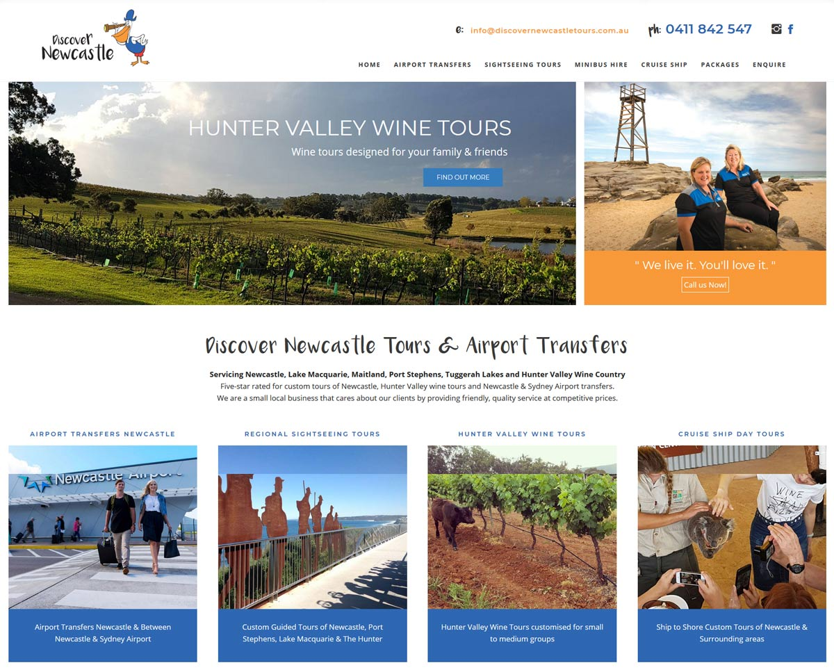 Newcastle Tours Website Home page