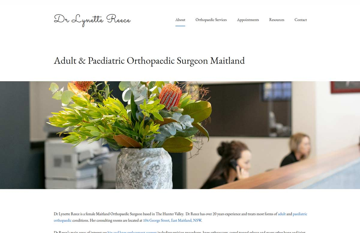 Medical Website design for orthopaedic surgeon Dr Lynette Reece