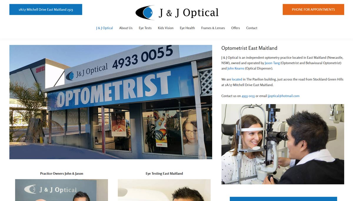 website for newcastle optometrist J & J optical
