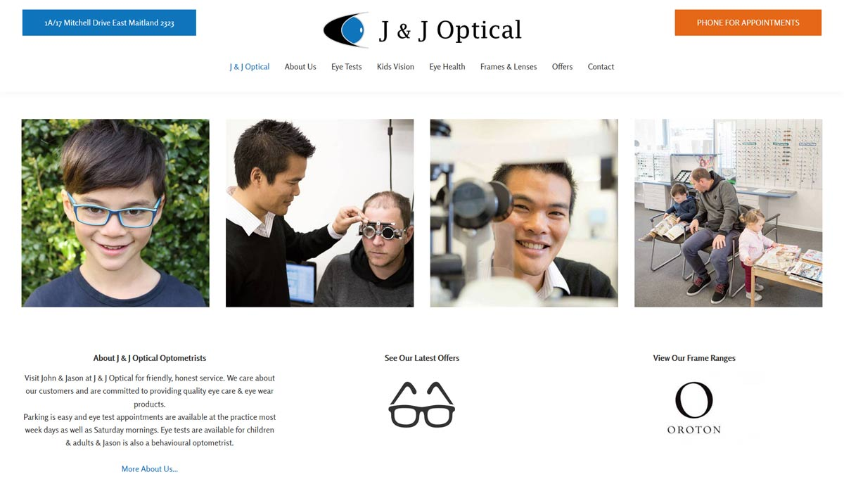 optometry website design east maitland