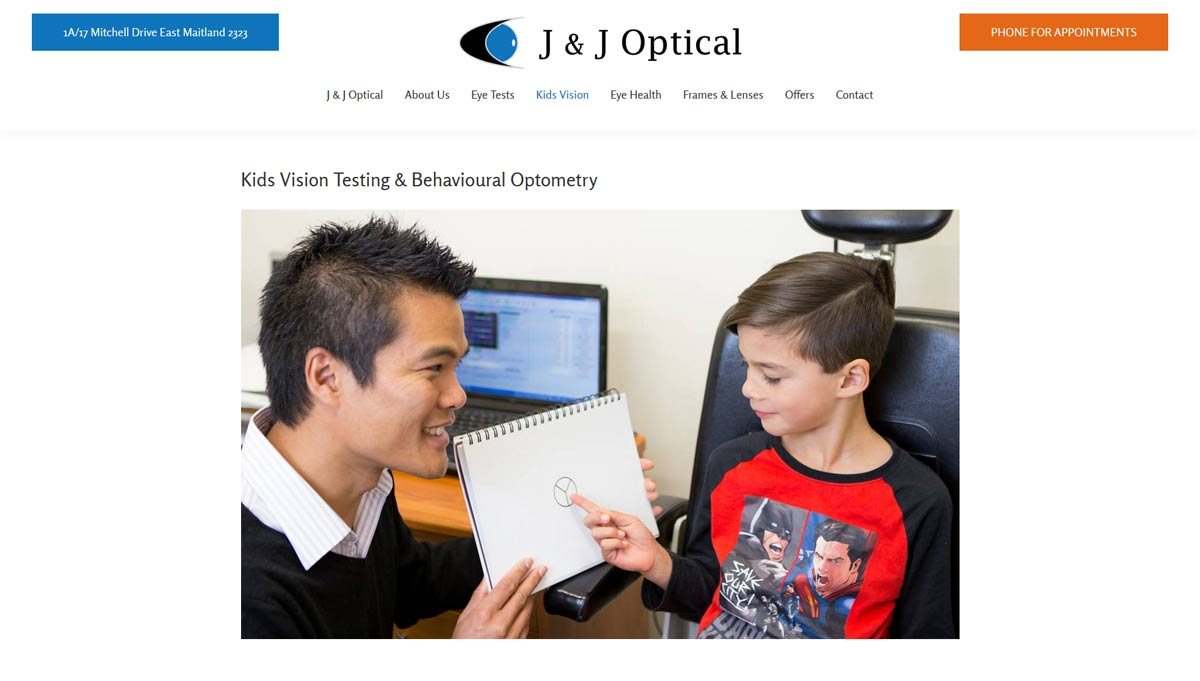 web page from optometrist website