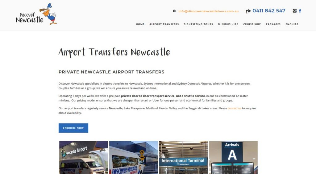 Discover newcastle tours website design sub page