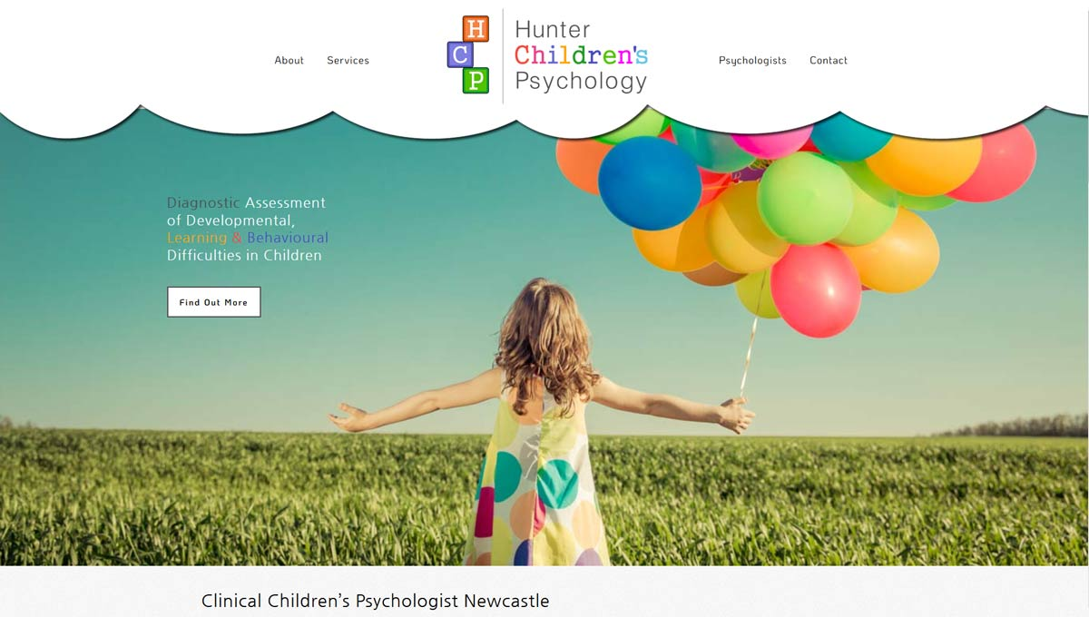 hunter children's psychology website design