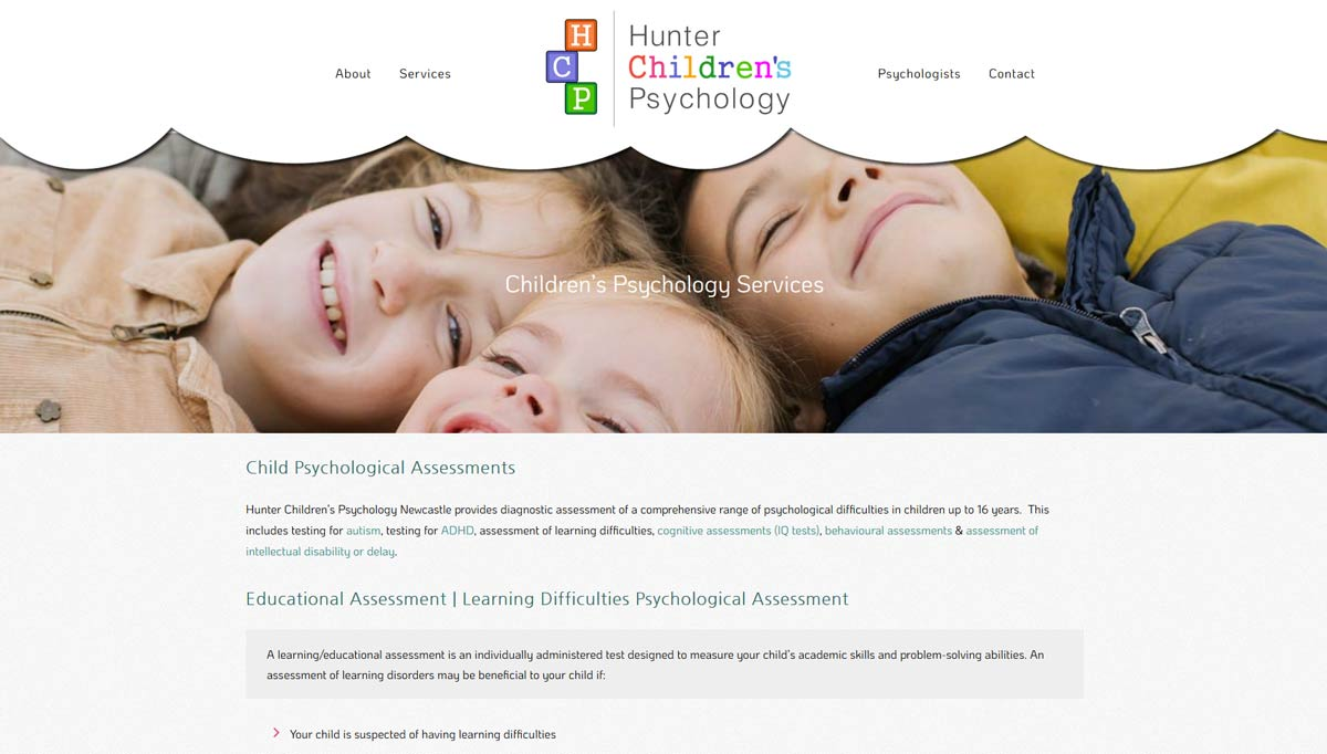 page from hunter children's psycholgy website