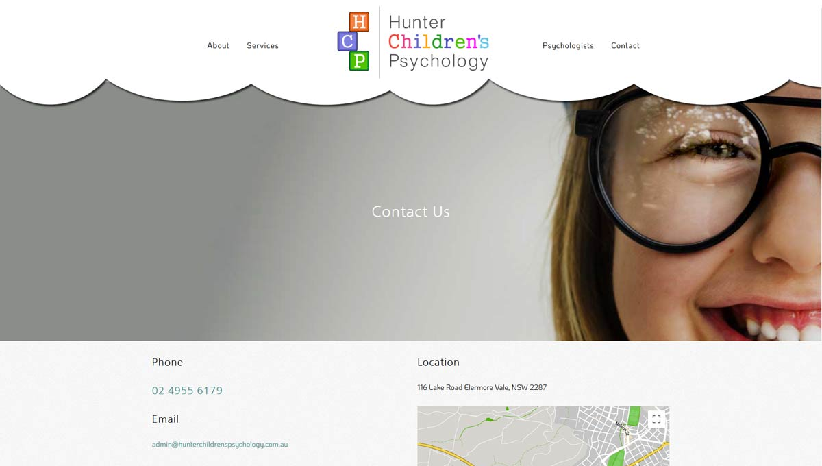 contact page from hunter children's psychology website design