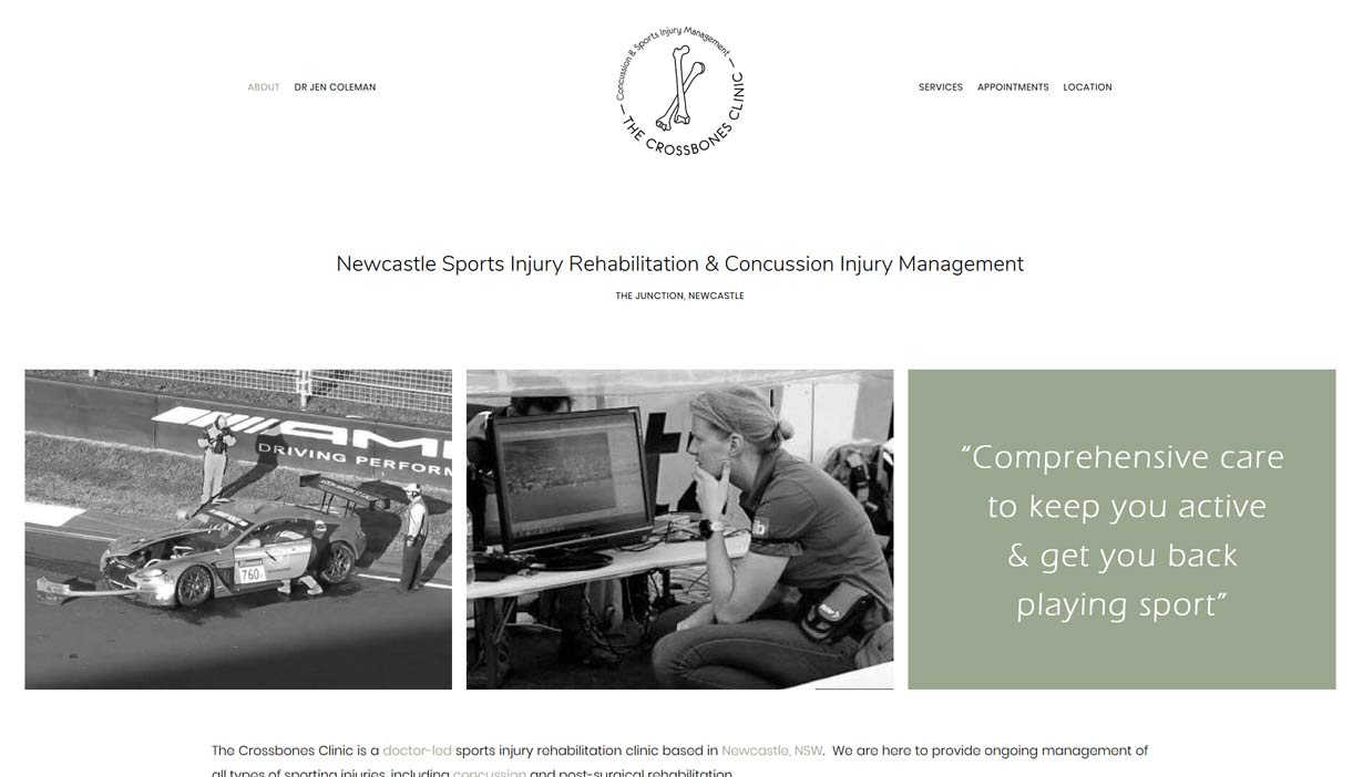medical website design newcastle - rehabilitation clinic