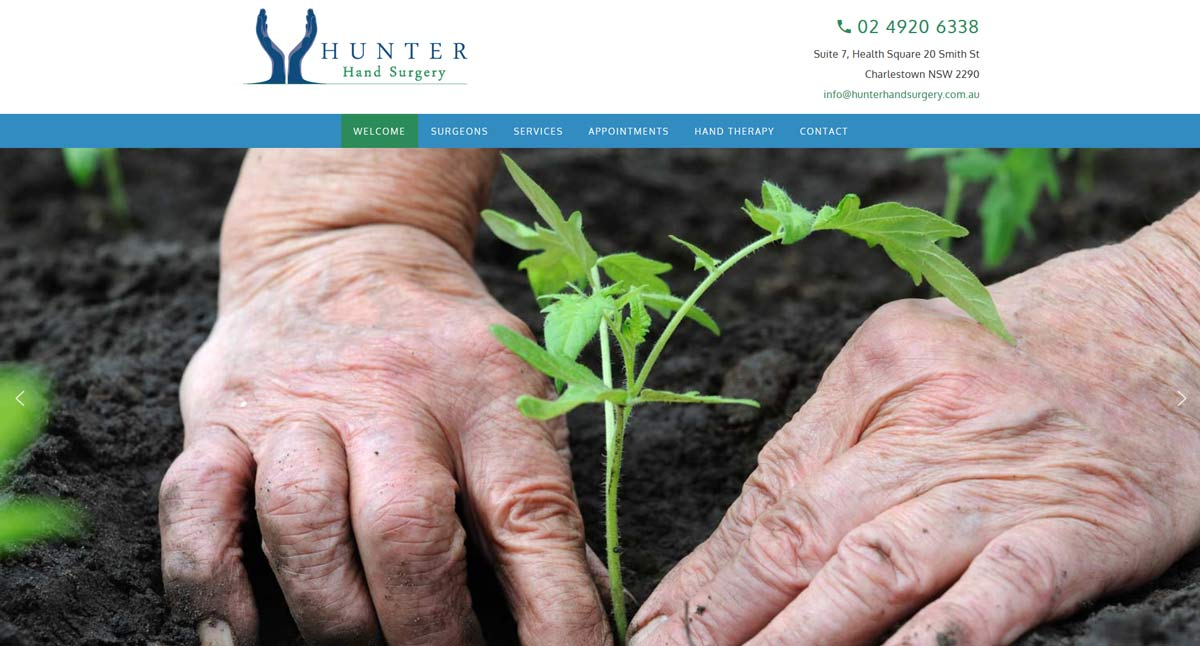 Hunter Hand Surgery Website design by Trek Web Design Newcastle