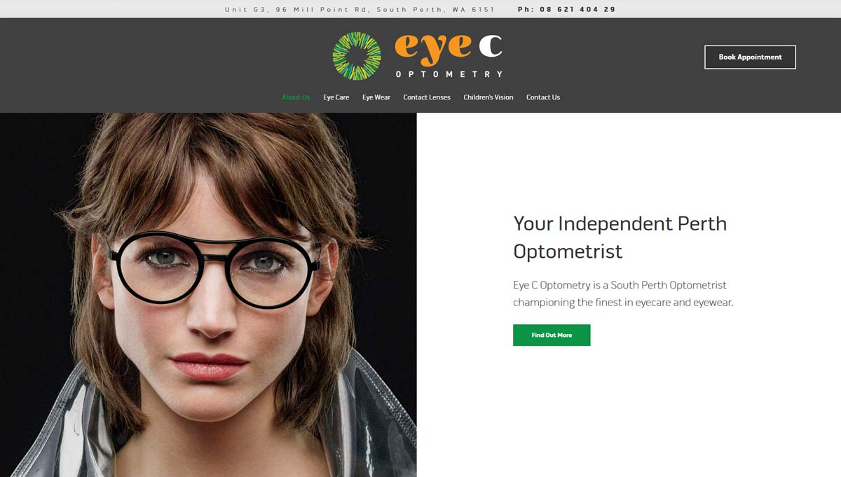 optometry practice website designer perth