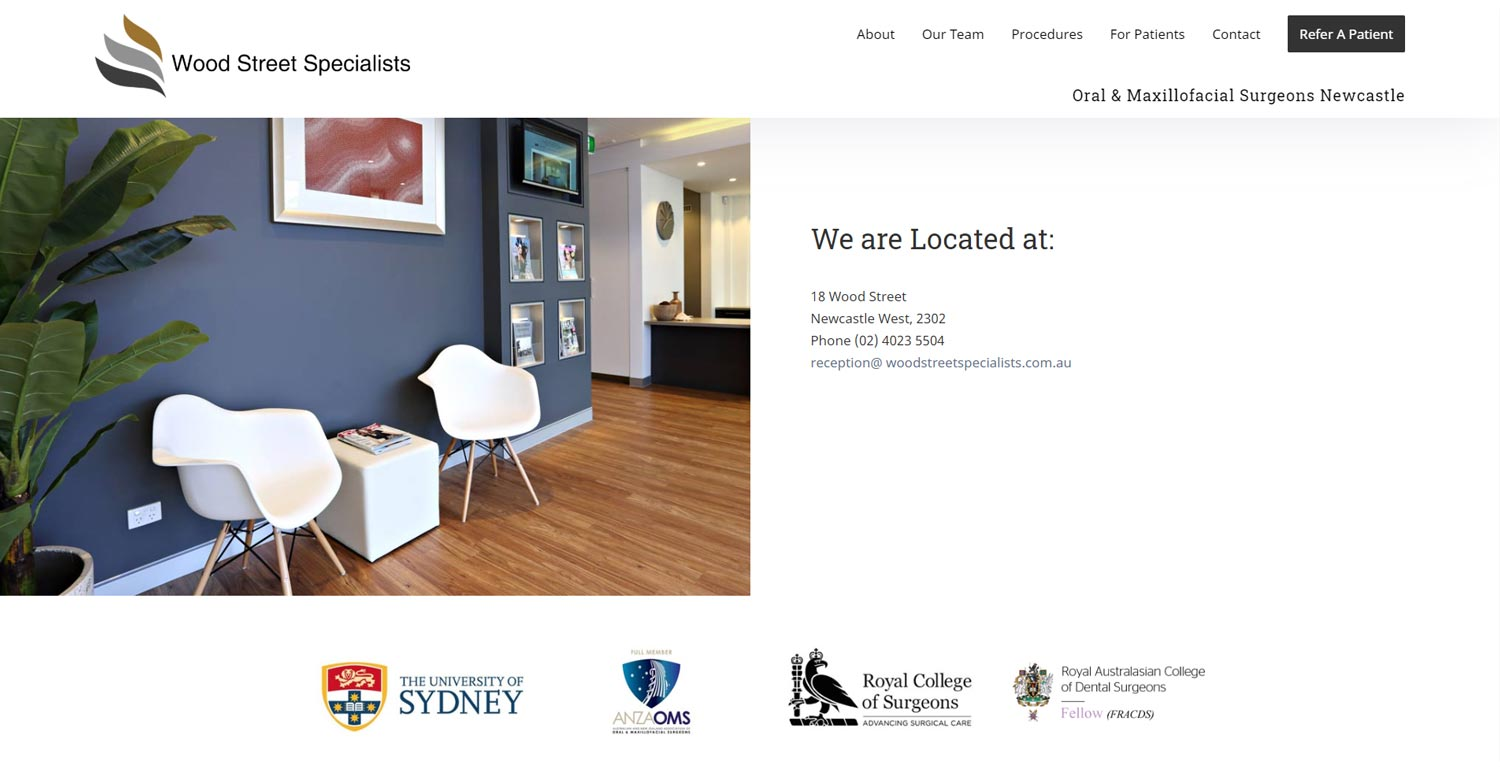 medical specialist website design Newcastle