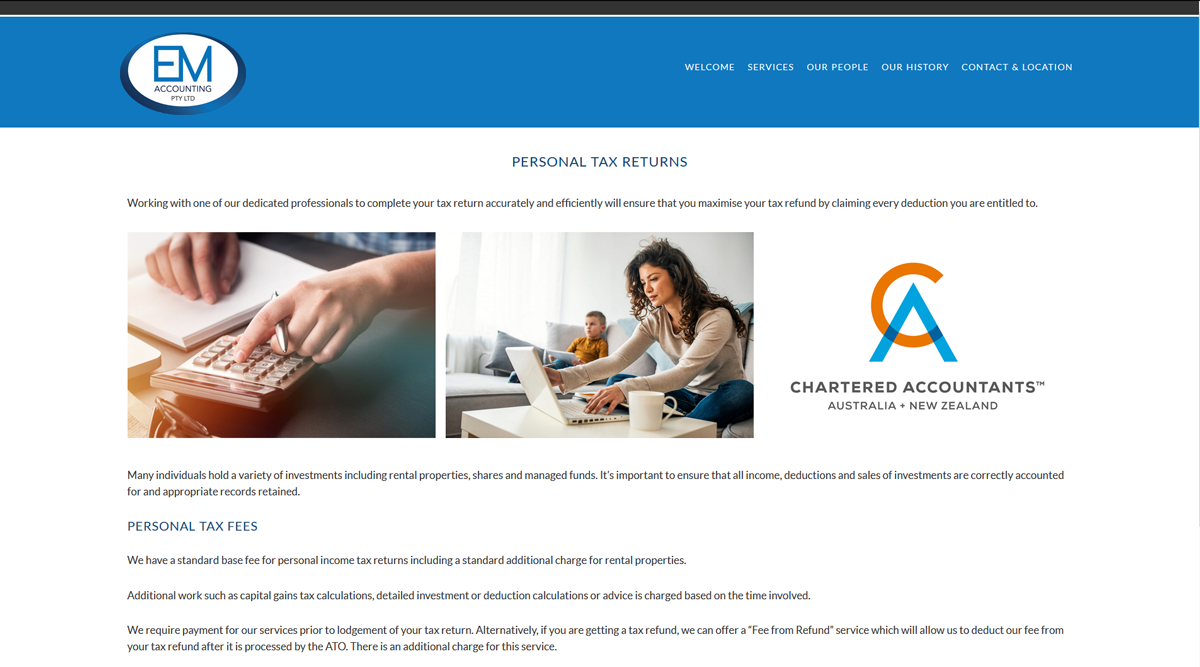 accountancy website design Maitland