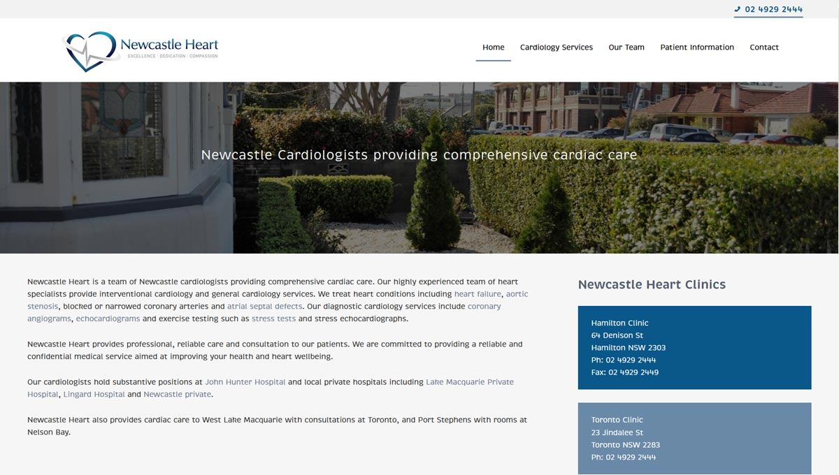 medical website design in Newcastle