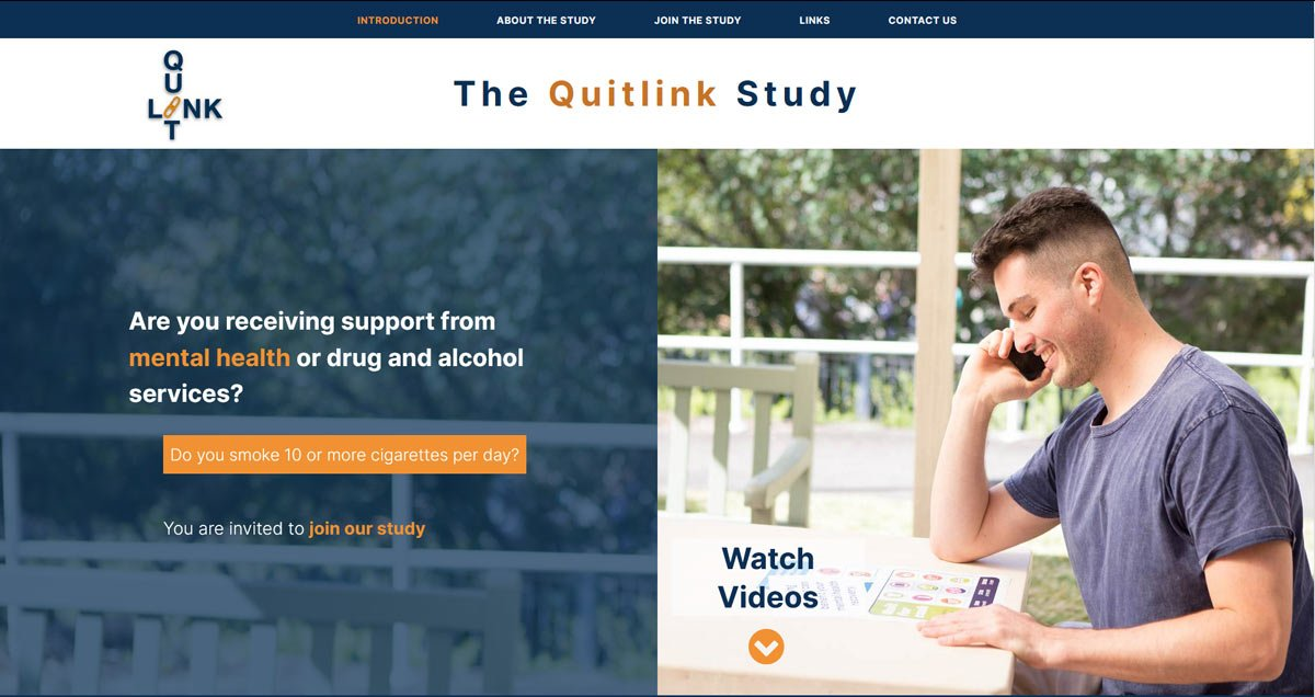 Quitlink university research study website design