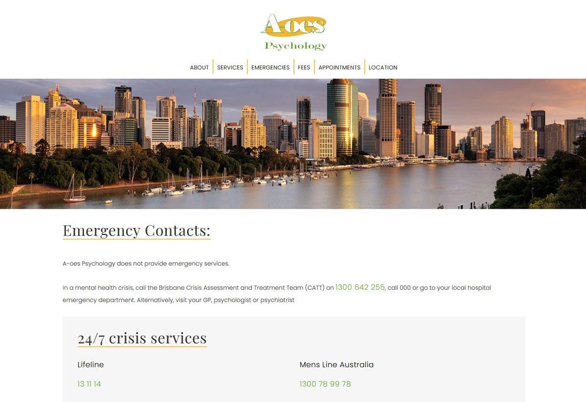 psychology website design Brisbane